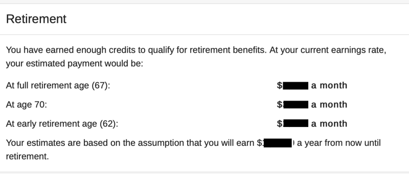 Social Security benefits estimate from the SSA website