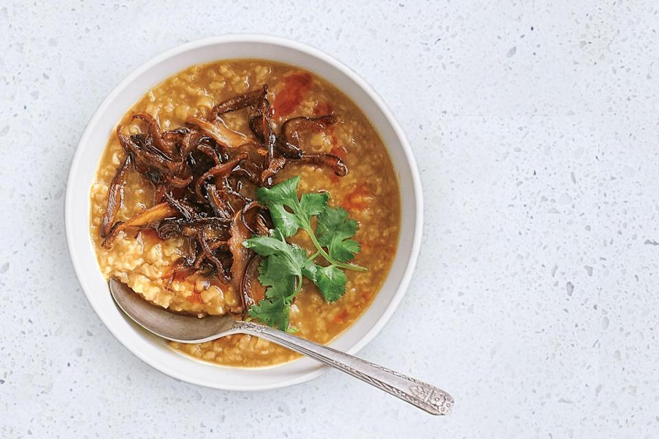 """Comforting, filling turkey congee is the perfect soothing cold-weather breakfast. As with any <a href=""""https://www.epicurious.com/recipes-menus/best-recipes-andrea-nguyens-super-simple-overnight-rice-porridge-easy-dinner-party-article?mbid=synd_yahoo_rss"""" rel=""""nofollow noopener"""" target=""""_blank"""" data-ylk=""""slk:rice porridge"""" class=""""link rapid-noclick-resp"""">rice porridge</a>, you can have fun with the toppings, adding fresh herbs, crispy shallots or roasted mushrooms, chopped peanuts, or a soft-boiled egg. <a href=""""https://www.epicurious.com/recipes/food/views/turkey-congee-with-crispy-shiitake-mushrooms?mbid=synd_yahoo_rss"""" rel=""""nofollow noopener"""" target=""""_blank"""" data-ylk=""""slk:See recipe."""" class=""""link rapid-noclick-resp"""">See recipe.</a>"""