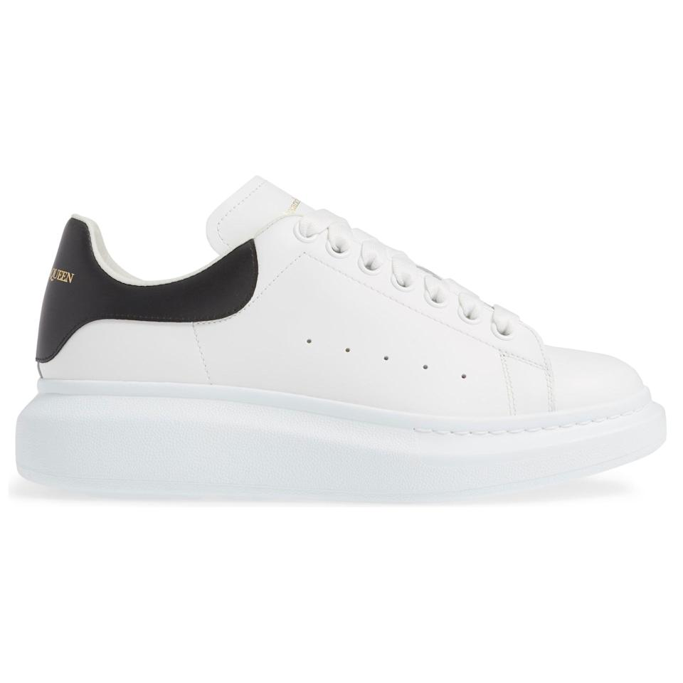 """<p><strong>Oversize Low Top Sneakers</strong></p><p>nordstrom.com</p><p><strong>$580.00</strong></p><p><a href=""""https://go.redirectingat.com?id=74968X1596630&url=https%3A%2F%2Fwww.nordstrom.com%2Fs%2Falexander-mcqueen-oversize-low-top-sneaker-men%2F5116819&sref=https%3A%2F%2Fwww.esquire.com%2Fstyle%2Fmens-accessories%2Fadvice%2Fg2538%2Fluxury-sneaker-brands-worth-spending-money%2F"""" rel=""""nofollow noopener"""" target=""""_blank"""" data-ylk=""""slk:Shop Now"""" class=""""link rapid-noclick-resp"""">Shop Now</a></p><p>Thick, bold soles are the name of the game for Alexander McQueen-style sneakers. Even though that construction is popular right now, a true McQueen silhouette is unmistakable. It helps that it's really the only part of the shoe that's bold; the rest of it is kept to a solid base color, minimal detailing, and only small pops of color.</p>"""