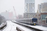 Snow falls during a Nor'easter storm amid the coronavirus disease (COVID-19) pandemic in New York