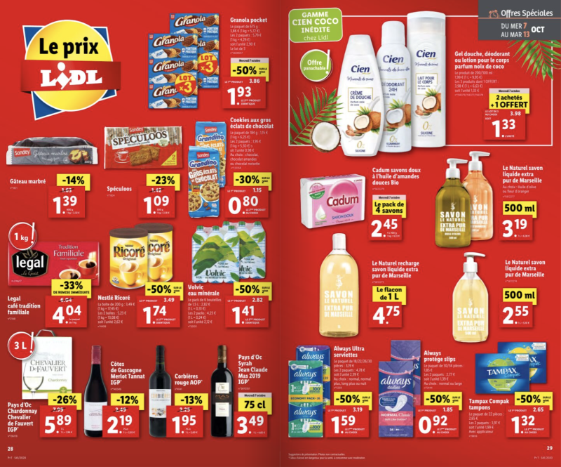 Deux pages du catalogue Lidl du 7 au 13 octobre 2020