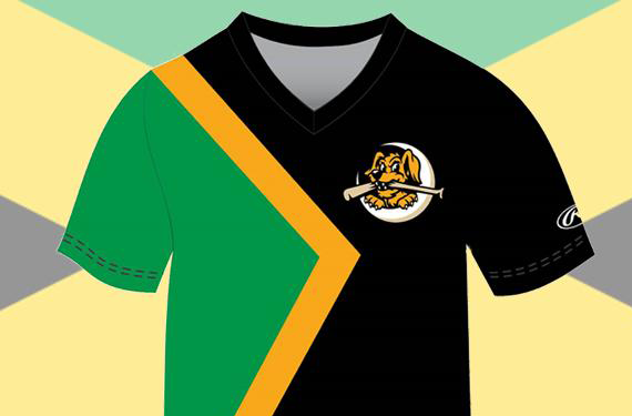 The Charleston RiverDogs will be wearing this uniform on May 3 for Jamaican Bobsled Night. (SportsLogos.net)