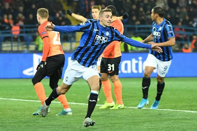 Timothy Castagne scored the opener as Atalanta reached the last 16 of the Champions League for the first time with victory over Shakhtar Donetsk (AFP Photo/Sergei SUPINSKY)