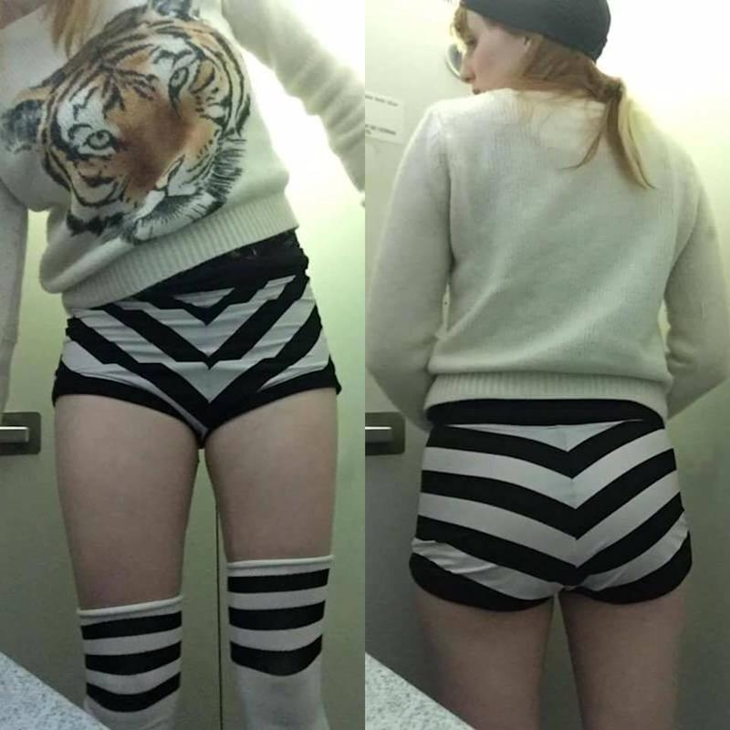 """""""They're not like burlesque shorts. They're just shorts,"""" Maggie McMuffin said of the outfit that got her barred from boarding a JetBlue flight. (Photo: Molly McIsaac/Facebook)"""