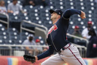 Atlanta Braves' starting pitcher Drew Smyly throws during the first inning of a baseball game against the Washington Nationals in Washington, Thursday, May 6, 2021. (AP Photo/Manuel Balce Ceneta)