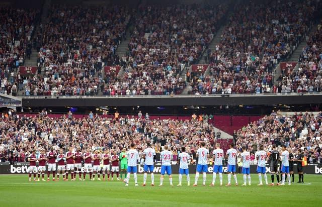 A minute's applause was held at West Ham v Manchester United