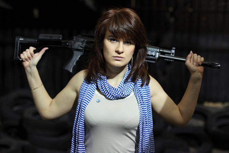 Accused Russian spy Maria Butina at a shooting range in Moscow in 2012.
