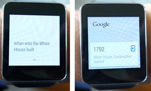 Watches displaying a search query and answer