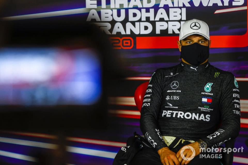"""Valtteri Bottas, Mercedes-AMG F1, 2nd position, in the Press Conference<span class=""""copyright"""">Andy Hone / Motorsport Images</span>"""
