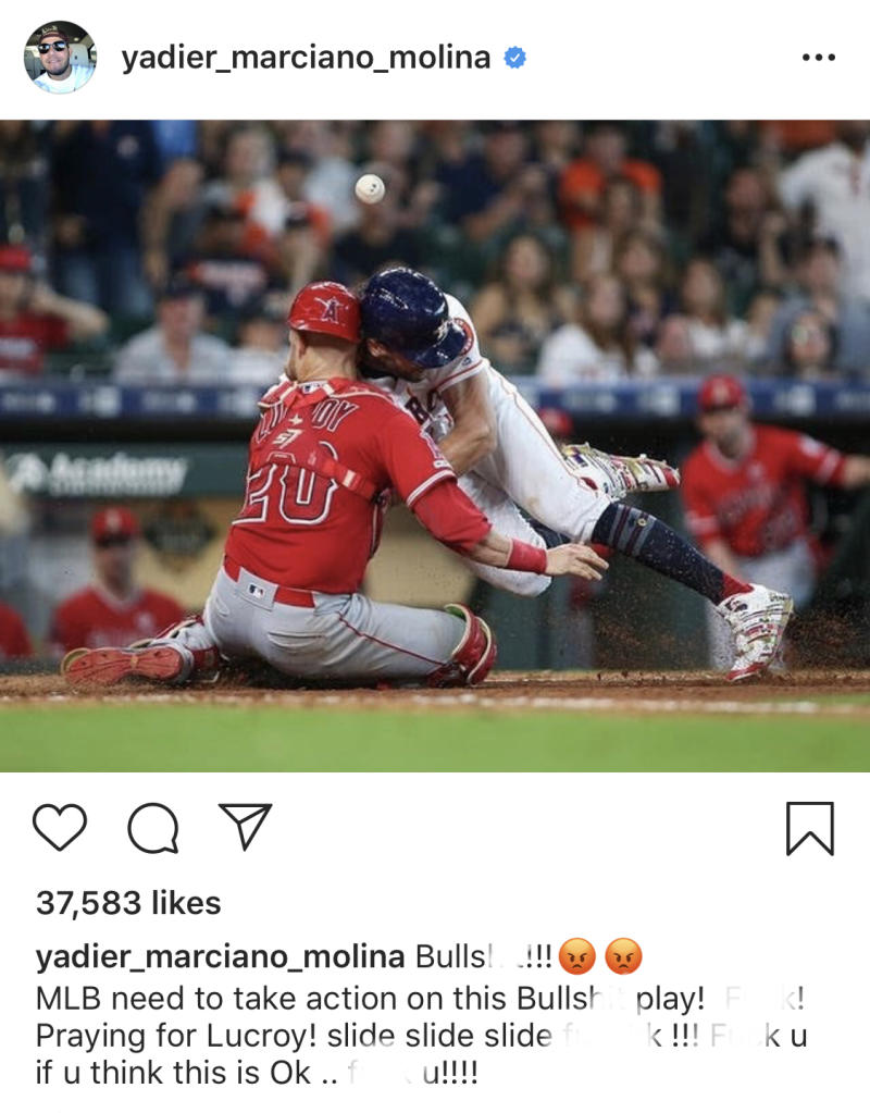 Yadier Molina sounded the collision on the home plate with Jake Marisnick and Jonathan Lucroy.