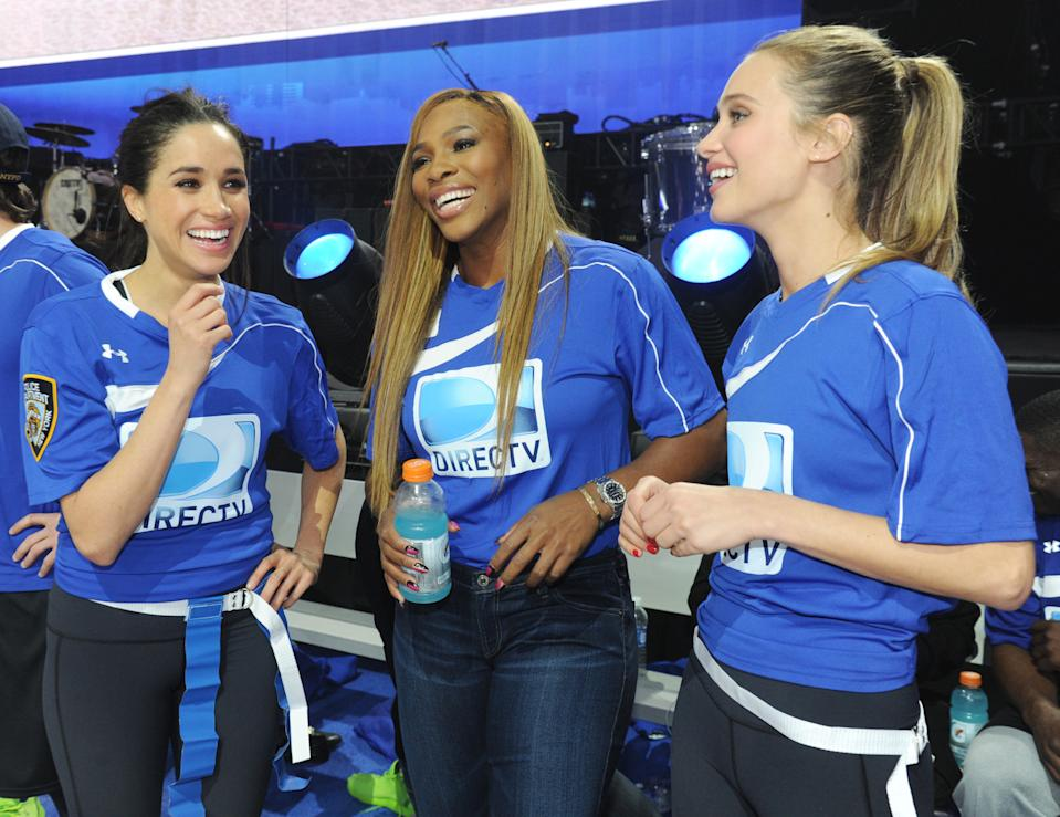 Meghan Markle, Serena Williams and model Hannah Davis participate in the DirecTV Beach Bowl in February 2014 in New York City. [Photo: Getty]