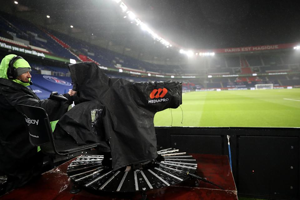 PARIS, FRANCE-DECEMBER 13:    illustration of camera Mediapro producer of Ligue1 during the Ligue 1 match between Paris Saint-Germain and Olympique Lyon at Parc des Princes on December 13, 2020 in Paris, France.(Photo by Xavier Laine/Getty Images)