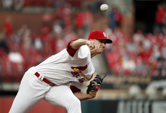 St. Louis Cardinals starting pitcher Jack Flaherty throws during the first inning of the team's baseball game against the Los Angeles Dodgers on Wednesday, April 10, 2019, in St. Louis. (AP Photo/Jeff Roberson)