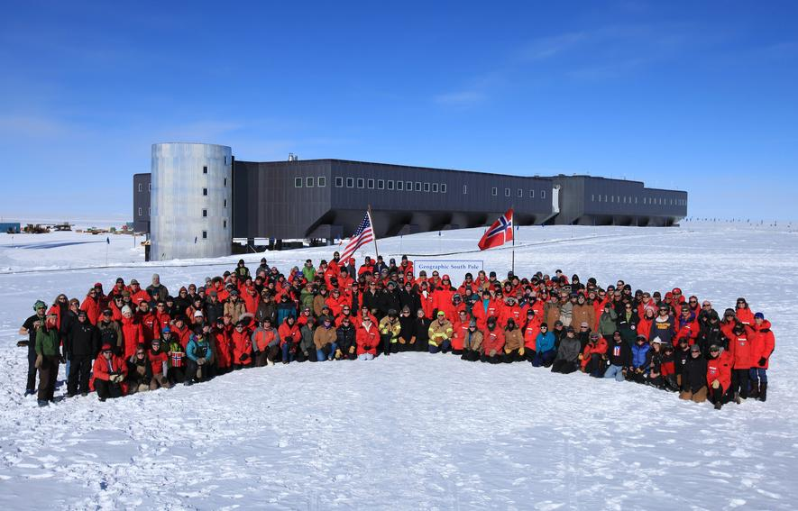 This image released by the Norwegian Prime Minister's Office Tuesday Dec. 13, 2011 shows employees at the Amundsen-Scott research station at the South Pole pose for a picture with Norwegian Prime Minister Jens Stoltenberg on Monday Dec. 12, 2011. Stoltenberg was in Antarctica to mark the 100th anniversary of Norwegian explorer Roald Amundsen's expedition to the South Pole.(AP Photo/ Norwegian Prime Minister's Office) EDITORIAL USE ONLY