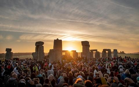 The sunrise over Stonehenge this morning - Credit: Geoff Pugh for the Telegraph