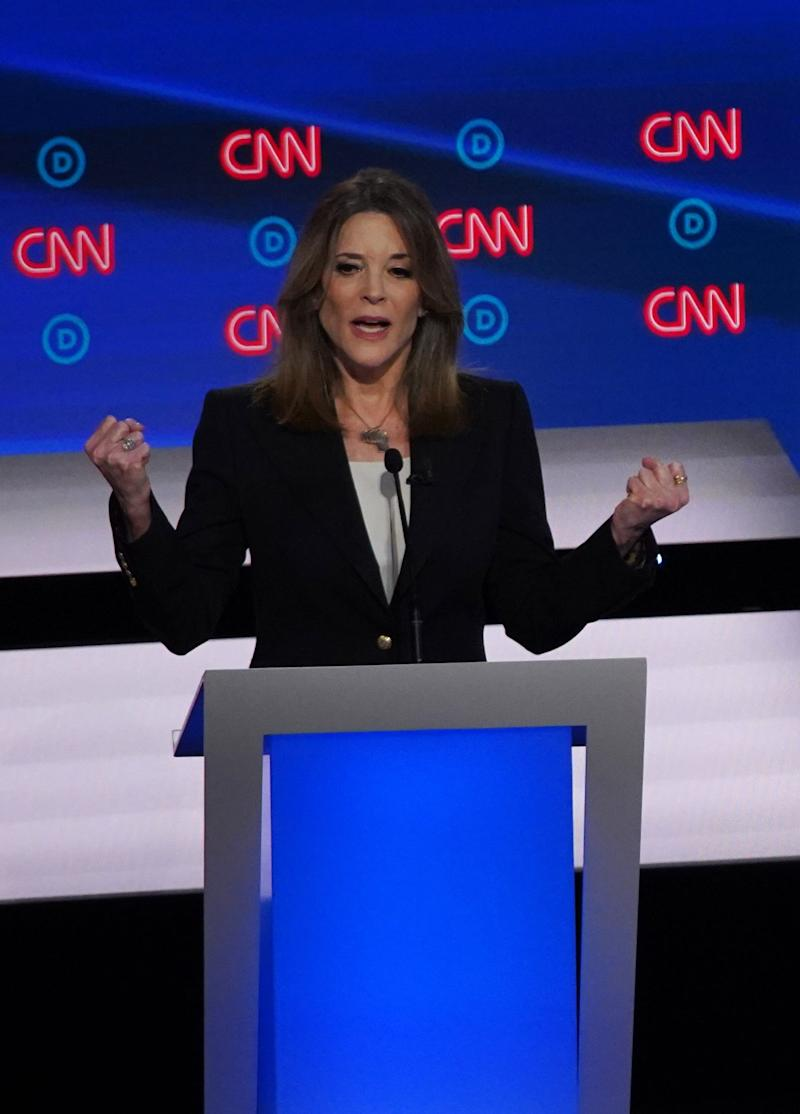 Democratic presidential candidate author Marianne Williamson speaks during the first night of the Democratic presidential debates at the Fox Theatre in Detroit on July 30, 2019.