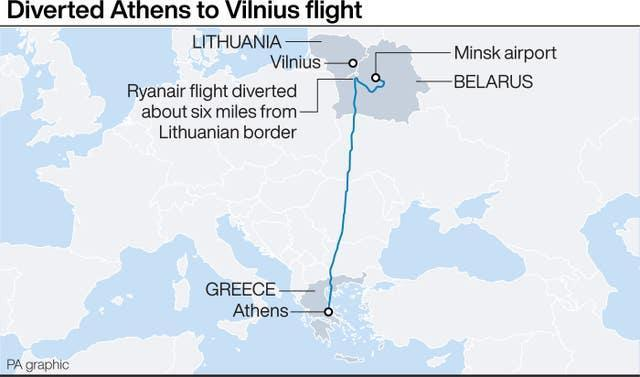 Route of diverted Ryanair flght from Athens to Vilnius