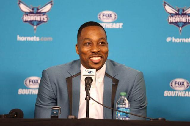 """<a class=""""link rapid-noclick-resp"""" href=""""/nba/players/3818/"""" data-ylk=""""slk:Dwight Howard"""">Dwight Howard</a> just thought of a good comeback. (Getty)"""