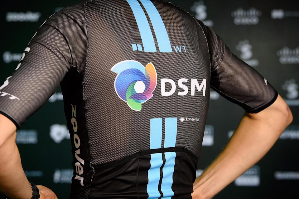 The back of  Team DSM jersey