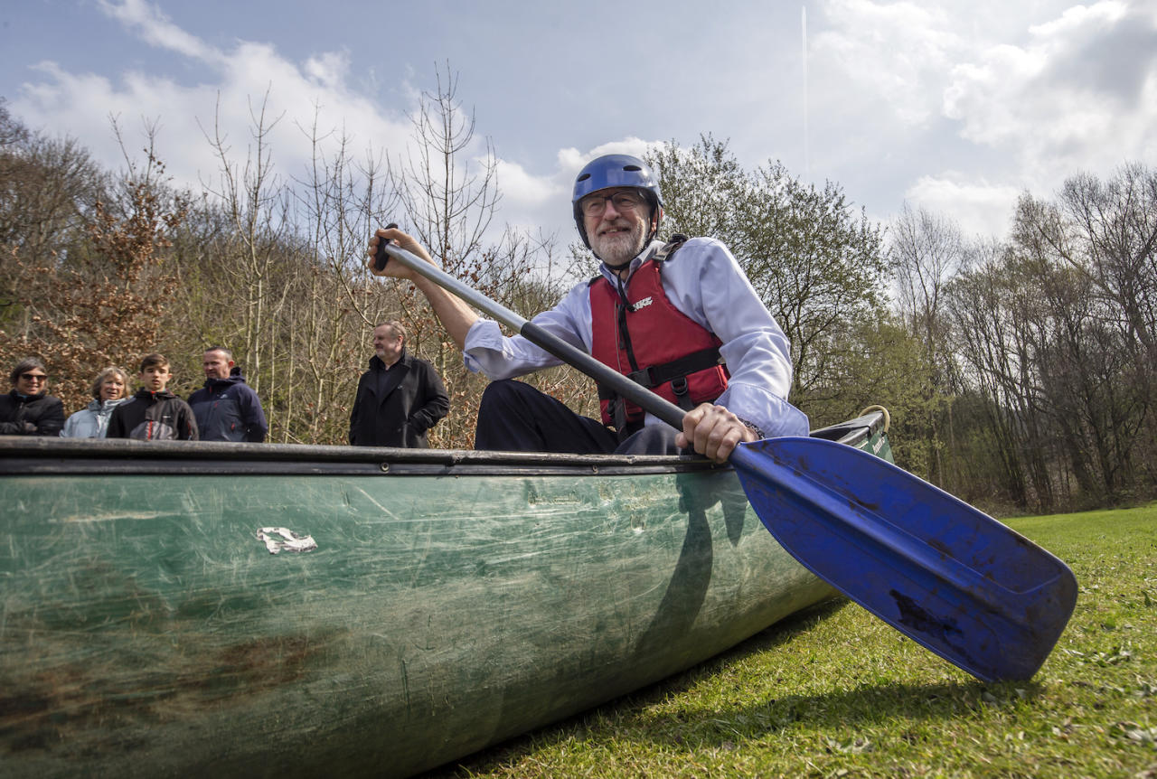 <p>Jeremy Corbyn has played into the hands of satirists by posing in a canoe on dry land. Rudderless anyone? </p>
