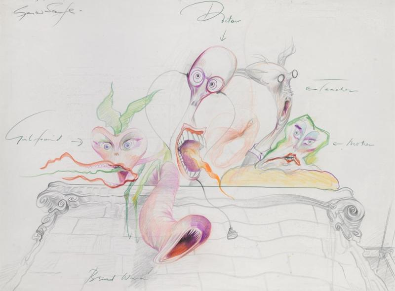 First sketch of main characters for The Wall, circa 1978.   Gerald Scarfe