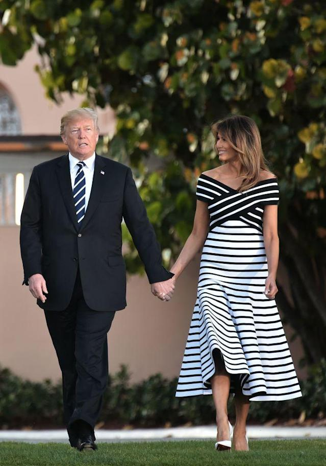 <p>To mark the Japanese Prime Minister Shinzo Abe and his wife Akie Abe's visit to the White House, Melania Trump donned a cold-shoulder midi dress by Carolina Herrera. <em>[Photo: Getty]</em> </p>