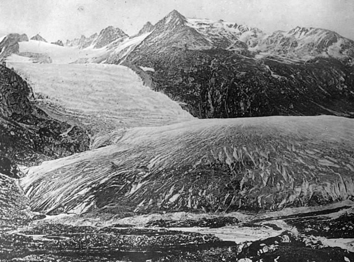 The Rhone Glacier pictured in 1849 is seen in this handout image