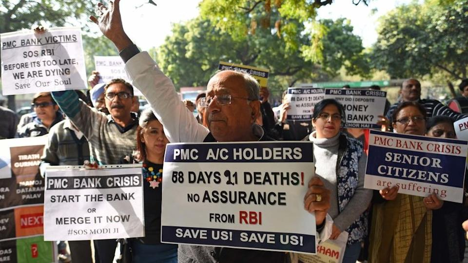 Account holders of PMC Bank protesting in Delhi