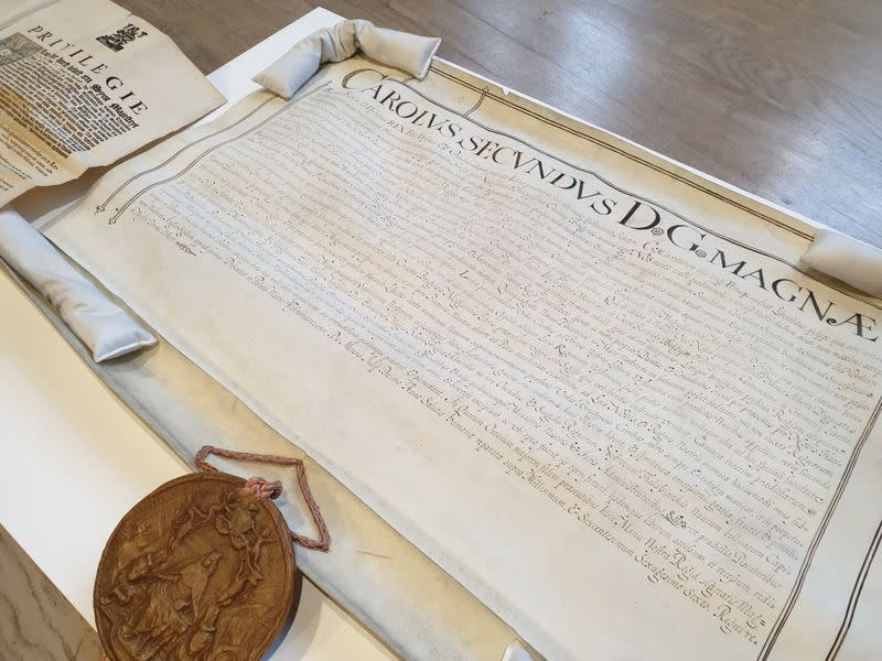 """View of a """"Fisheries Privilege"""" original document, signed by King Charles II in 1666, that is conserved at the State Archives of Belgium, in Bruges"""