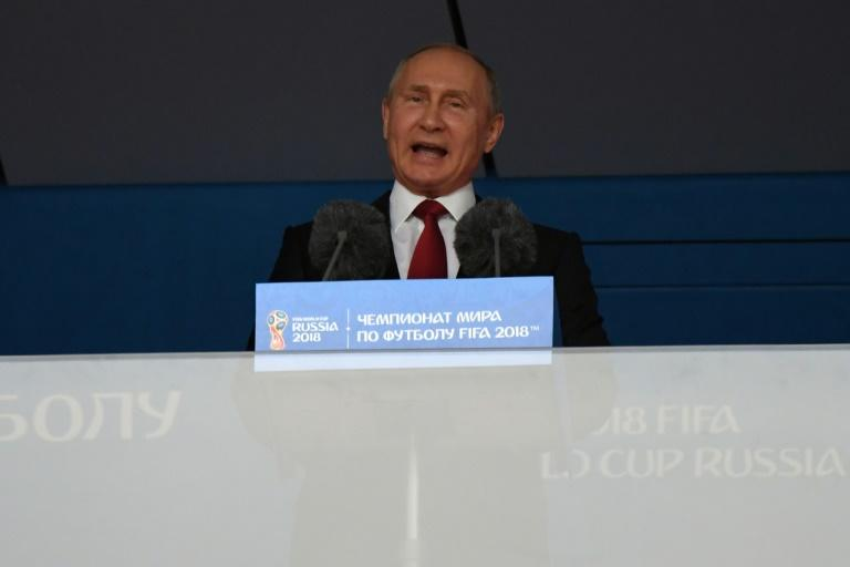 Russian President Vladimir Putin delivers a speech before the opening match of the 2018 World Cup
