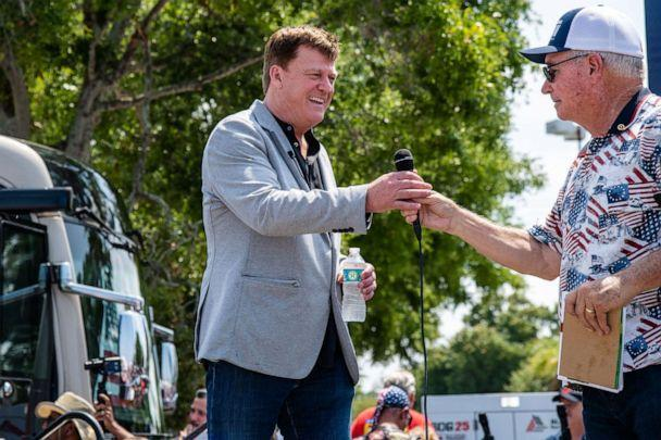 PHOTO: Patrick Byrne attends a 'Save America Patriot Rally' on April 24, 2021, at a mall in Bradenton, Fla. (Amy Harris/Shutterstock, FILE)