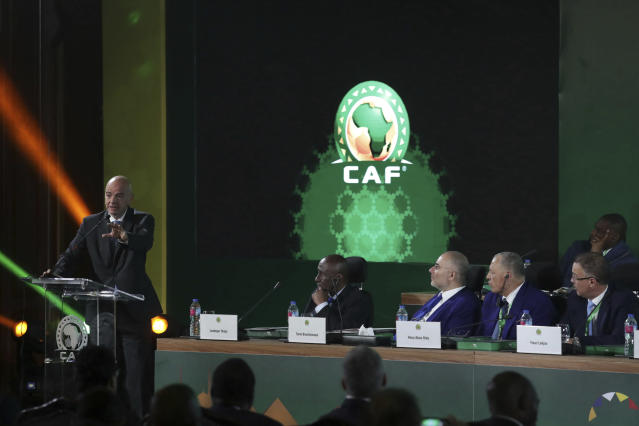 FIFA president Gianni Infantino speaks during the Confederation of African Football general assembly in Cairo, Egypt, Thursday, July 18, 2019. The African soccer body is holding its first major meeting since announcing that FIFA will send a senior official to lead a clean-up of the scandal-plagued organization in an unprecedented move for soccer. The Confederation of African Football, whose president is facing numerous allegations of corruption amid the crisis, is holding its general assembly on Thursday in Cairo on the eve of the African Cup final. (AP Photo/Hassan Ammar)