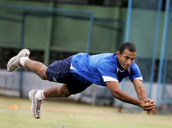 Indian cricketer Irfan Pathan dives