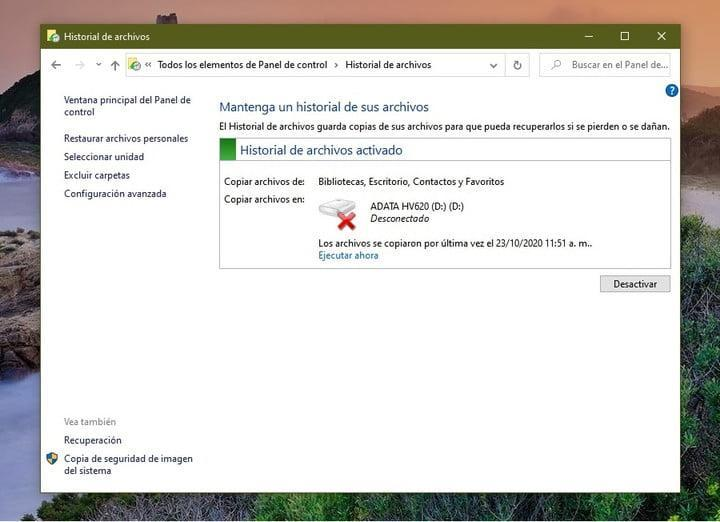 Historial de archivos para reinstalar Windows 10