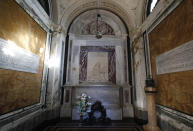 A view of poet Dante Alighieri's tomb, in Ravenna, Italy, Saturday, May 8, 2021. Italy is honoring its great poet in myriad ways on the 700th anniversary of his death, with new musical scores and gala concerts, exhibits and dramatic readings against stunning backgrounds in every corner of the land. (AP Photo/Antonio Calanni)