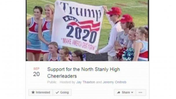 PHOTO: Residents came out to support the North Stanly High School cheerleaders after they were disciplined for posing with this sign. (WSOC)