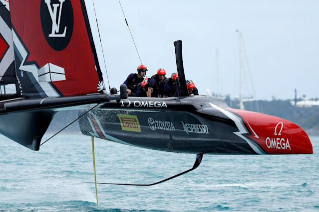 Sailing - America's Cup finals - Hamilton, Bermuda - June 24, 2017 - Emirates Team New Zealand speeds to the finish line in win over Oracle Team USA in race five of America's Cup finals. REUTERS/Mike Segar
