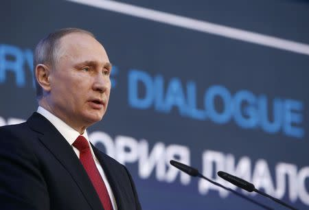 Russian President Putin delivers speech at session of International Arctic Forum in Arkhangelsk