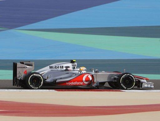 Lewis Hamilton drives at the Bahrain International circuit in Manama