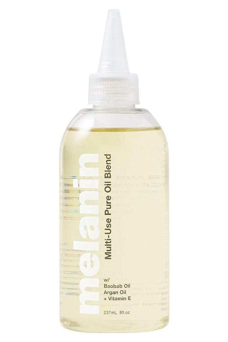 """<p><strong>Melanin Haircare</strong></p><p>ulta.com</p><p><strong>$17.99</strong></p><p><a href=""""https://go.redirectingat.com?id=74968X1596630&url=https%3A%2F%2Fwww.ulta.com%2Fmulti-use-pure-oil-blend%3FproductId%3Dpimprod2018199&sref=https%3A%2F%2Fwww.cosmopolitan.com%2Fstyle-beauty%2Fbeauty%2Fg34358051%2Fblack-owned-hair-products%2F"""" rel=""""nofollow noopener"""" target=""""_blank"""" data-ylk=""""slk:Shop Now"""" class=""""link rapid-noclick-resp"""">Shop Now</a></p><p><strong>This Black-owned hair product really lives up to its name.</strong> You can work it into wet hair to seal in moisture, before you apply <a href=""""https://www.cosmopolitan.com/style-beauty/beauty/a23066979/best-curl-cream-natural-hair/"""" rel=""""nofollow noopener"""" target=""""_blank"""" data-ylk=""""slk:curl cream"""" class=""""link rapid-noclick-resp"""">curl cream</a> to help set your style, or as a detangling treatment before you shampoo your curls. It's all thanks to the lightweight mix of argan oil, sweet almond oil, and jojoba oil (among others) that allows this product to hydrate, soften, and detangle.</p>"""