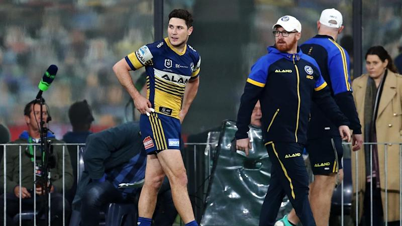 Parramatta lost playmaker Mitchell Moses in the first half of their XX-XX win/loss over/to Canberra