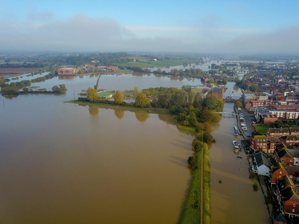 Aerial view of flooding in Tewkesbury, Gloucestershire. The Environment Agency said that it's very unusual for the River Severn to be at such high levels for its entire length. (SWNS)