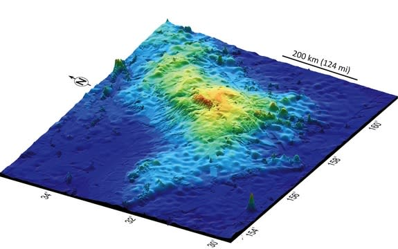 A 3D map of Tamu Massif, the world's biggest volcano.