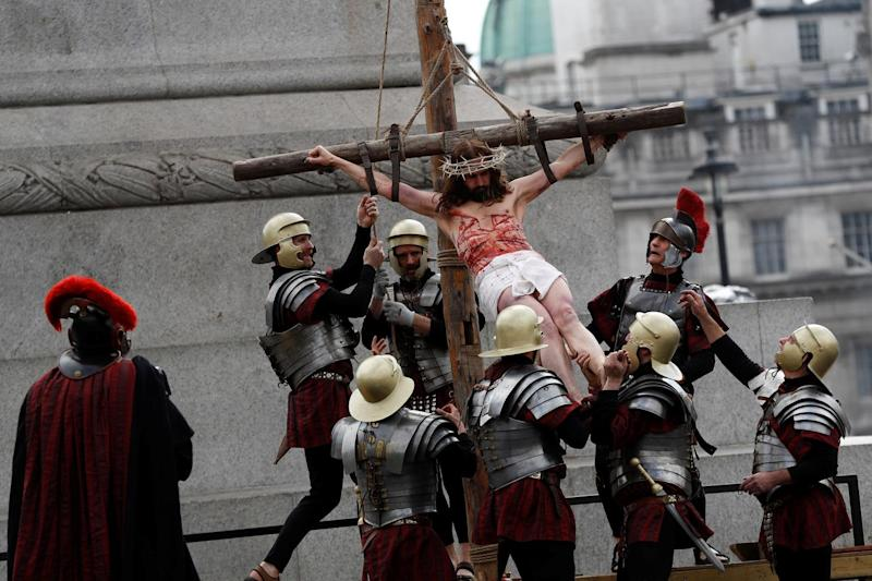 The gory re-enactment of the Passion of Jesus was watched by hundreds of people