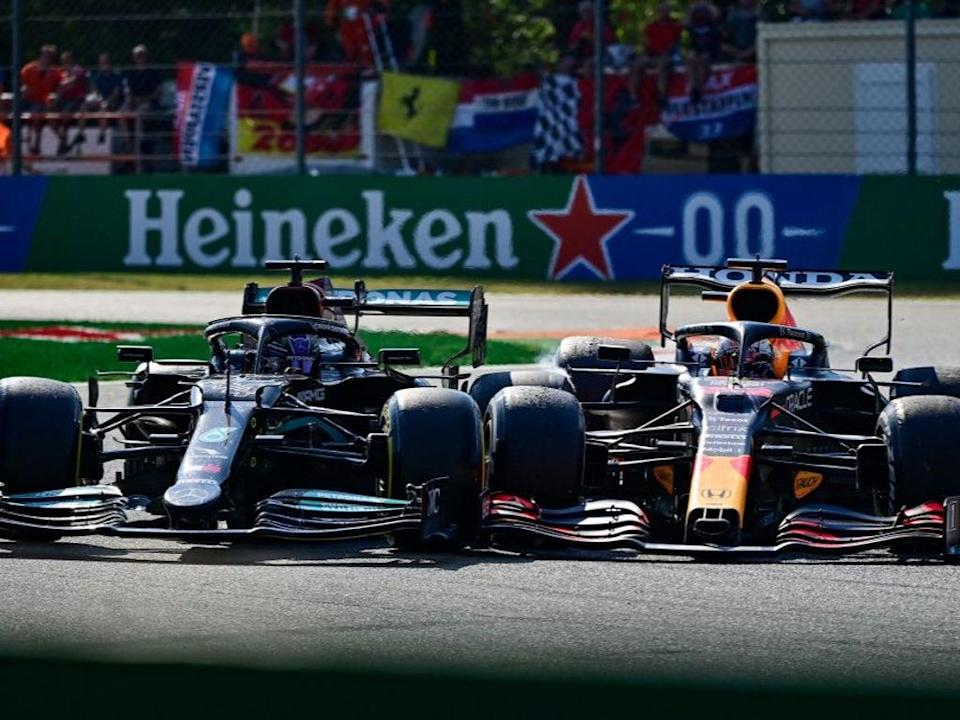 Lewis Hamilton and Max Verstappen took each other out of the Italian GP (AFP via Getty Images)