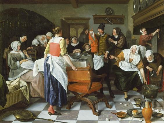 'Celebrating the Birth', by Jan Steen (originally dated from 1664), is part of the Wallace Collection