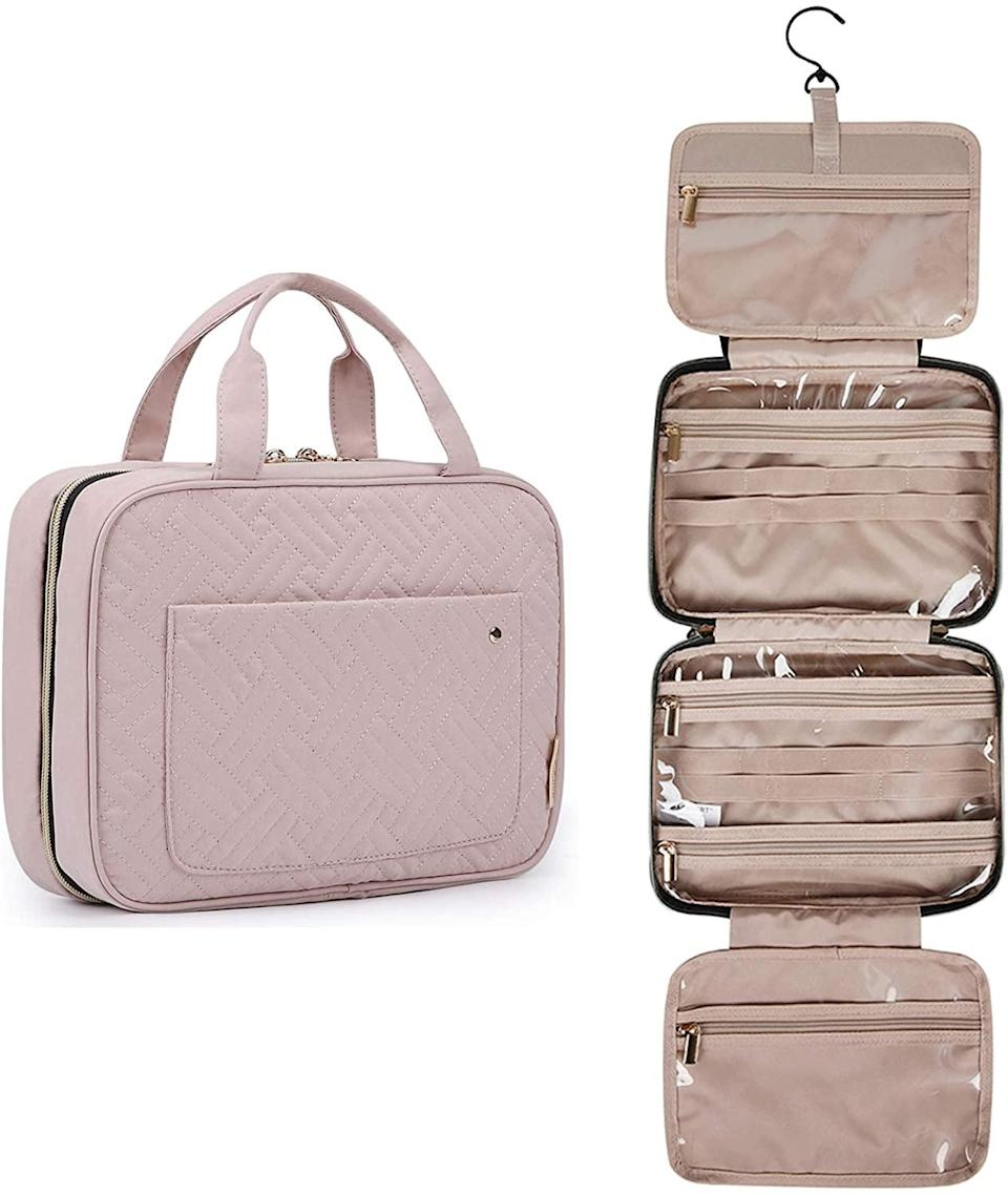 <p>This <span>Bagsmart Toiletry Travel Bag</span> ($23-$28) is the ultimate travel companion. It hangs and has plenty of pockets to hold everything from hair to skincare products, plus all my makeup. It also has 13,000 reviews and a 4.8 rating, so customers clearly love it.</p>