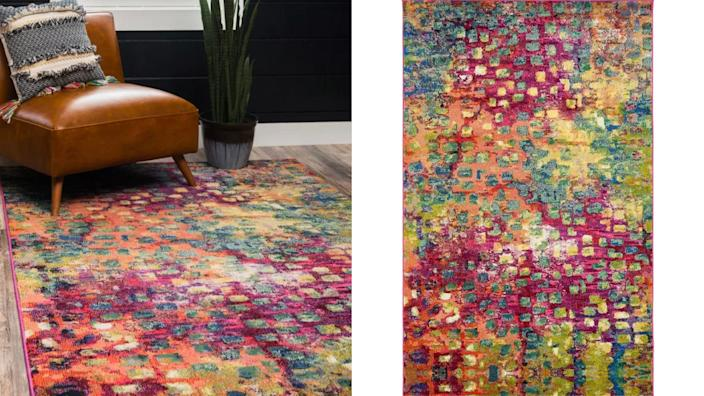 The Bungalow Rose Massaoud Multi-colored Area Rug can brighten up any room.