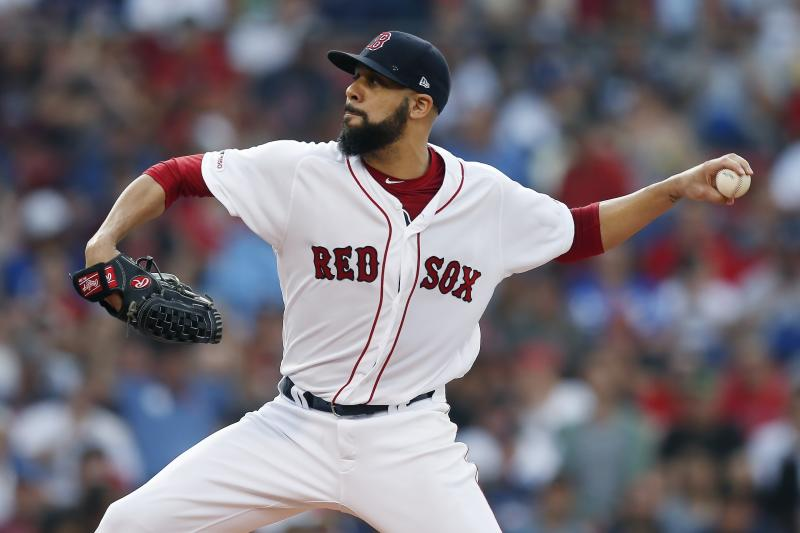 Boston Red Sox's David Price pitches during the first inning of a baseball game against the Los Angeles Dodgers in Boston, Sunday, July 14, 2019. (AP Photo/Michael Dwyer)