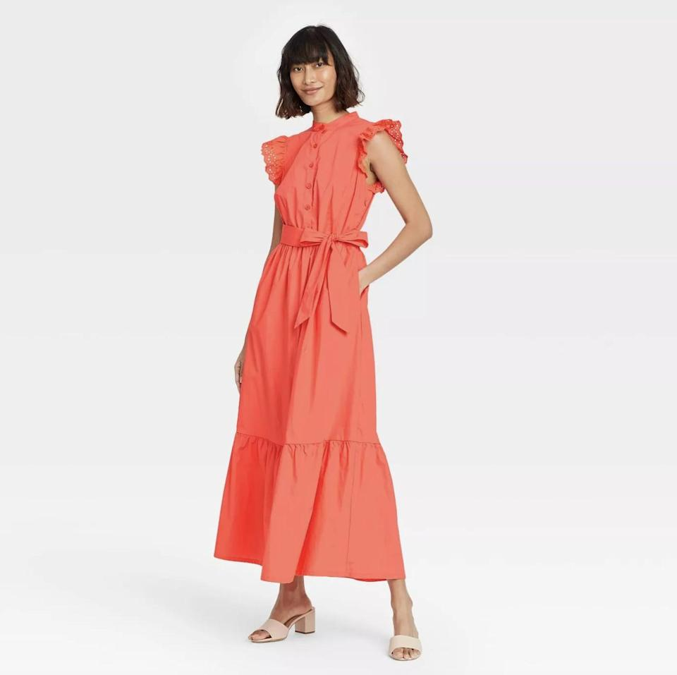 <p>Pair this <span>Who What Wear Ruffle Short Sleeve A-Line Dress</span> ($40) with a pair of refined mules for an effortlessly chic ensemble.</p>